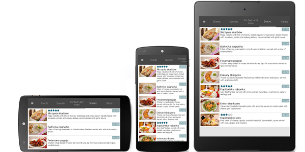 Showing restaurant's menu on a smartphone or tablet does not require installing any application.